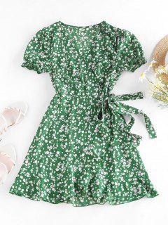 ZAFUL Ditsy Print Puff Sleeve Ruffle Belted Dress - Green S