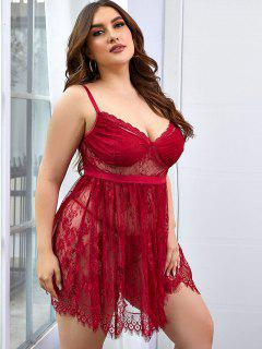Plus Size Lace Bustier Babydoll Set - Deep Red 2xl