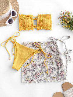 ZAFUL Ribbed Paisley Bandeau Ruffle Tie Side Three Piece Bikini Swimwear - Yellow L