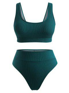 ZAFUL Plus Size Ribbed High Cut Bikini Swimwear - Deep Green Xl