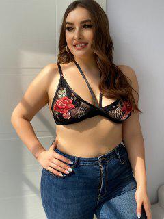 Plus Size Harness Floral Applique Lace Bralette - Black 1xl