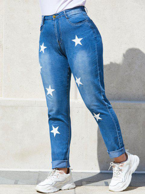Star Mid Rise Plus Size Skinny Jeans - أزرق XL Mobile