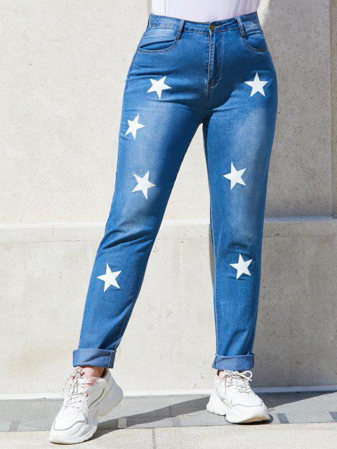 online Star Mid Rise Plus Size Skinny Jeans - BLUE 4XL Mobile