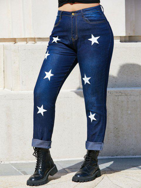 Jean Moulant à Taille Moyenne avec Etoiles Grande-Taille - Bleu profond 2XL Mobile