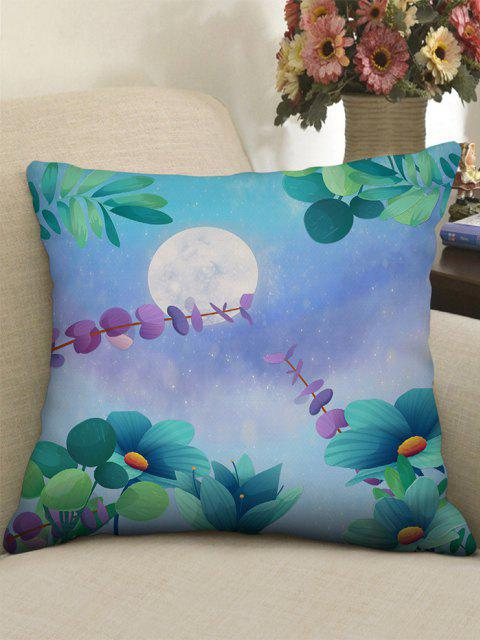 Moon Flower Printed Linen Square Pillowcase - متوسطة الفيروز W18 × L18 بوصة Mobile