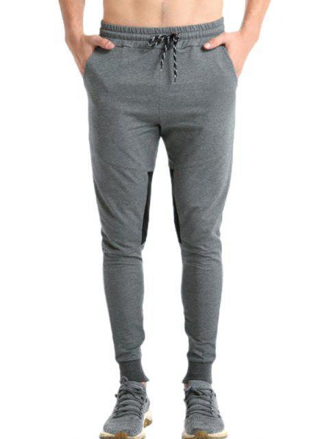 buy Colorblock Panel Zip Hem Jogger Sweatpants - DARK GRAY L Mobile
