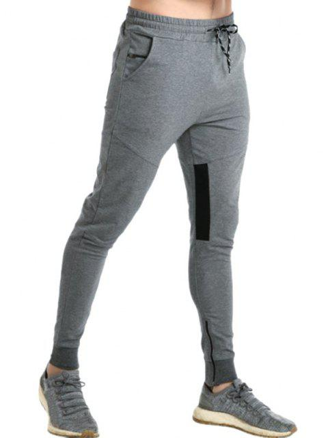 buy Colorblock Panel Zip Hem Jogger Sweatpants - DARK GRAY L Mobile