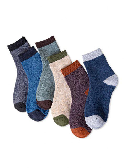 trendy 6 Pairs Colorblock Winter Socks Set - MULTI  Mobile