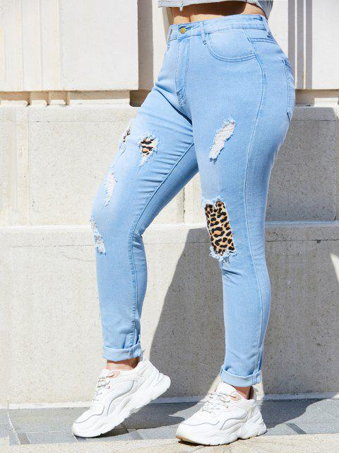 Leopard Panel Ripped Plus Size Skinny Jeans - أزرق فاتح 3XL Mobile