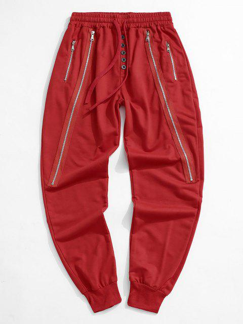 fancy Button Zipper Embellished Jogger Sweatpants - RED L Mobile