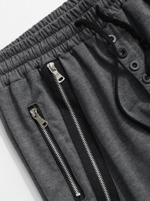 best Button Zipper Embellished Jogger Sweatpants - DARK GRAY 2XL Mobile