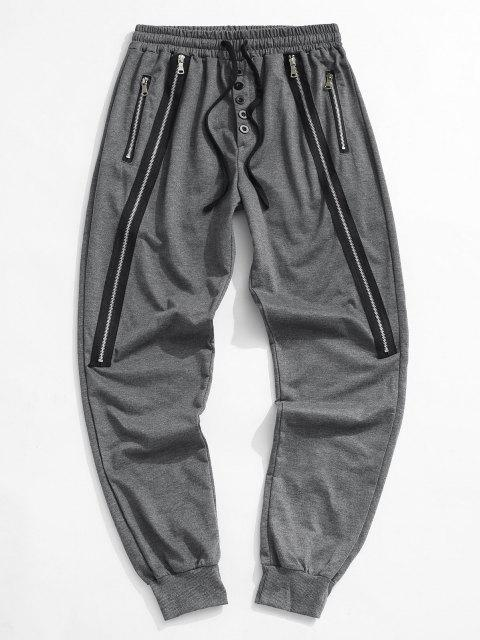 fashion Button Zipper Embellished Jogger Sweatpants - DARK GRAY M Mobile