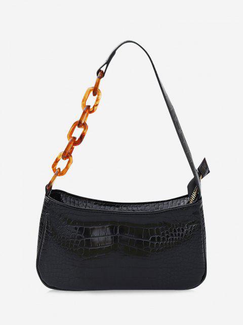 women Chain Splice Strap Shoulder Bag - BLACK  Mobile