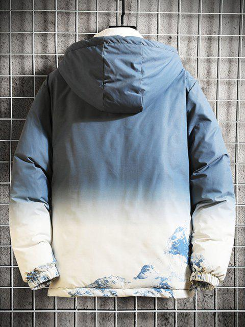 trendy Snow Mountain Ombre Print Hooded Padded Jacket - LIGHT BLUE S Mobile