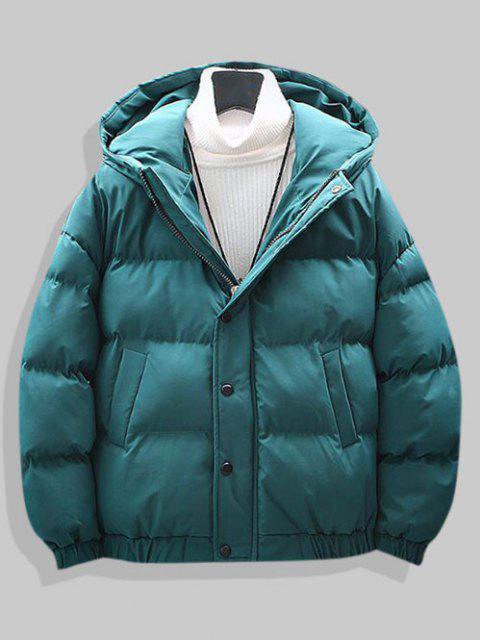 プレーンドロップショルダーフード付きパッド入りジャケット - ライトグリーン XL Mobile