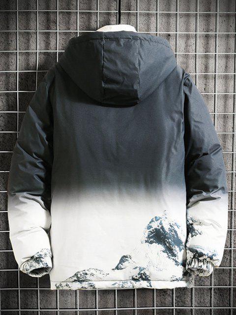 Veste Matelassée à Capuche avec Impression Montagne Enneigée - Noir XS Mobile