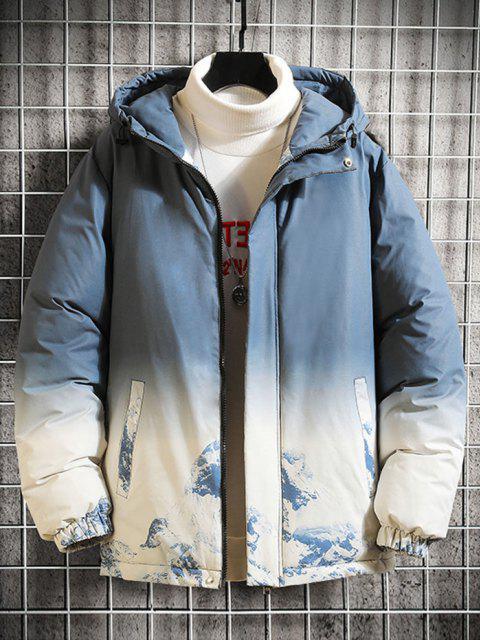Schnee Berg Ombre Druck Kapuze Gepolsterte Jacke - Hellblau L Mobile