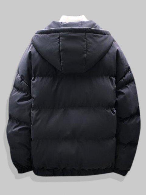 best Plain Drop Shoulder Hooded Padded Jacket - BLACK XL Mobile