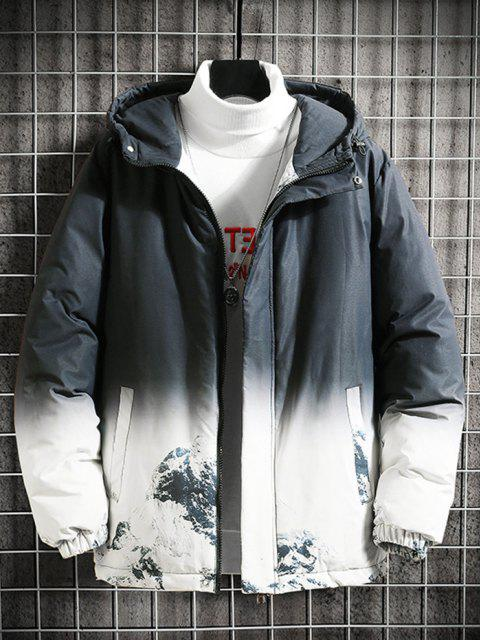 outfit Snow Mountain Ombre Print Hooded Padded Jacket - BLACK L Mobile