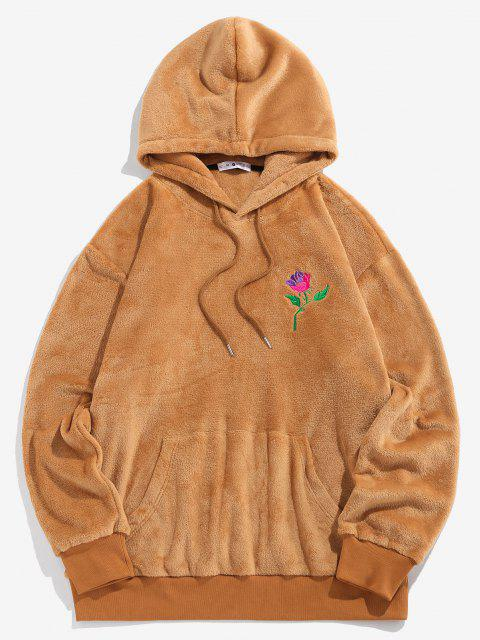 sale ZAFUL Rose Embroidery Fleece Hoodie - COFFEE S Mobile