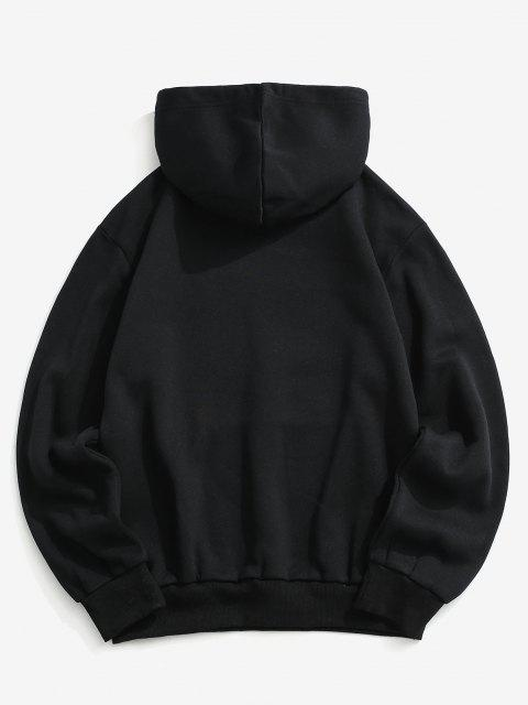 trendy American Flag Print Slogan Fleece Mask Hoodie - BLACK 2XL Mobile
