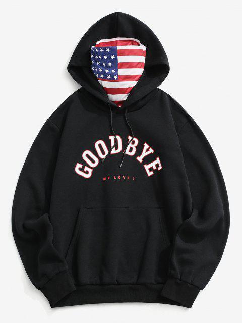 Amerikanische Flagge Slogan Fleece Hoodie - Schwarz XL Mobile