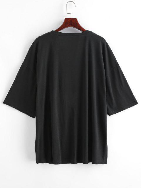 ZAFUL Übergröße Chinesische Drachendruck Langline T-Shirt - Schwarz 3XL Mobile