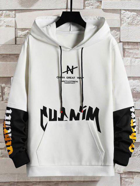 affordable Letter Print Faux Twinset Hoodie - WHITE XS Mobile