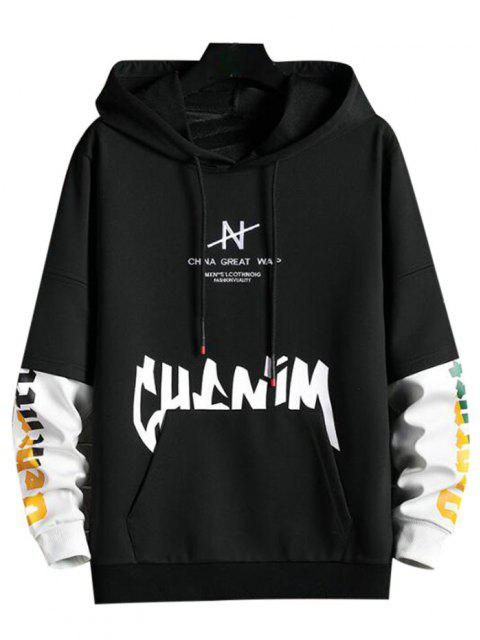 buy Letter Print Faux Twinset Hoodie - BLACK S Mobile