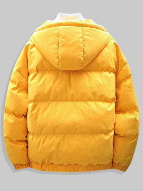 outfits Plain Drop Shoulder Hooded Padded Jacket - YELLOW M Mobile