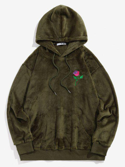 ZAFUL Rose Embroidery Fleece Hoodie - ديب غرين L Mobile
