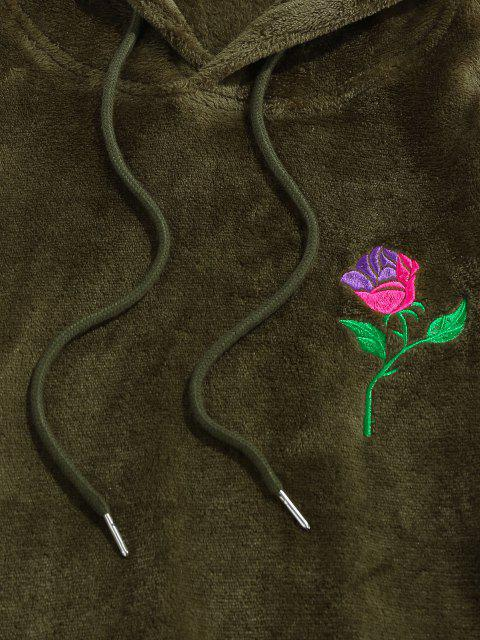 fancy ZAFUL Rose Embroidery Fleece Hoodie - DEEP GREEN L Mobile