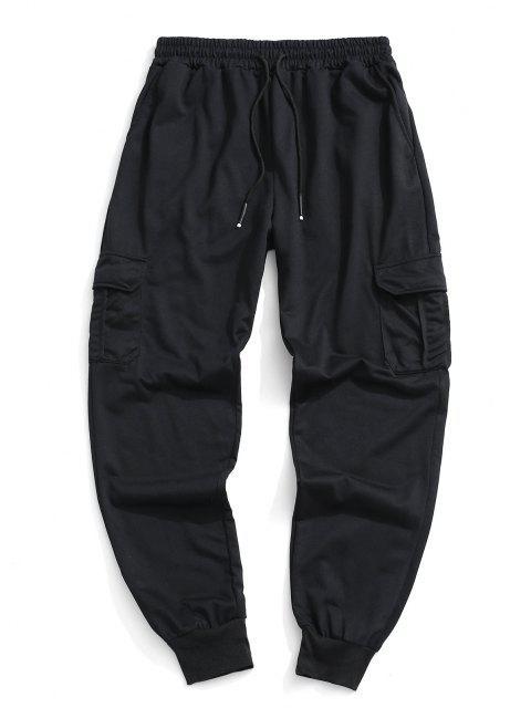 Pantalones Deportivos Solapa Bolsillo - Negro L Mobile