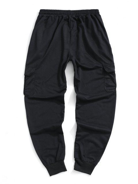 Pantalones Deportivos Solapa Bolsillo - Negro M Mobile