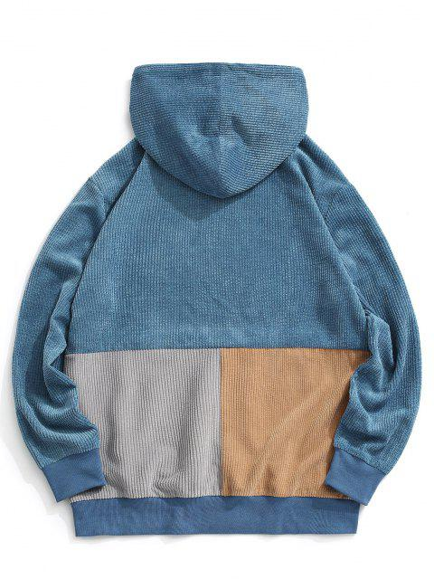 women's Colorblock Pullover Corduroy Hoodie - BLUE XL Mobile