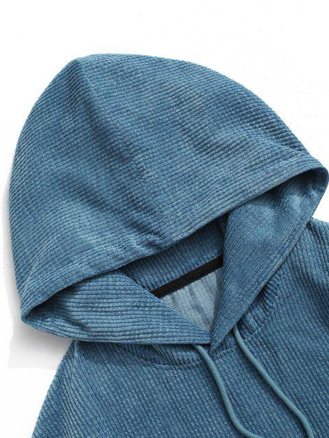 Sweat à Capuche en Blocs de Couleurs en Velours Côtelé - Bleu 2XL Mobile