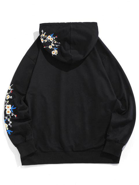 online Kangaroo Pocket Flower Birds Embroidered Hoodie - BLACK S Mobile