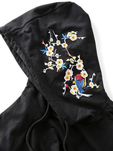 Casaco de Capuz com Oriental Bordado de Flor - Preto M Mobile