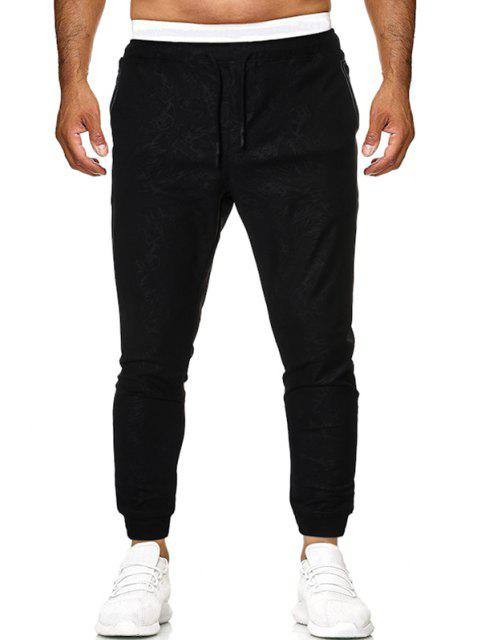 Pantalones Deportivos Detalle Costura Jacquard - Negro S Mobile