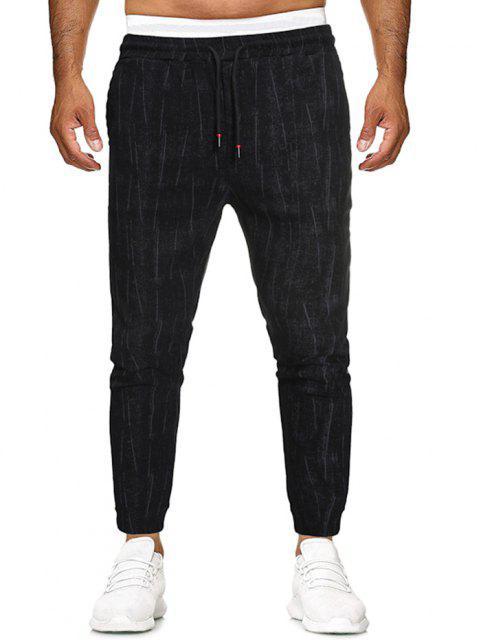 Pantalones Casual Detalle Estampado Rayas y Apliques - Negro S Mobile