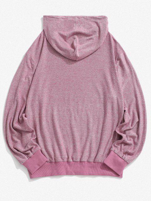 Buchstabe Druck Känguru Tasche Strick Hoodie - Hell-Pink M Mobile
