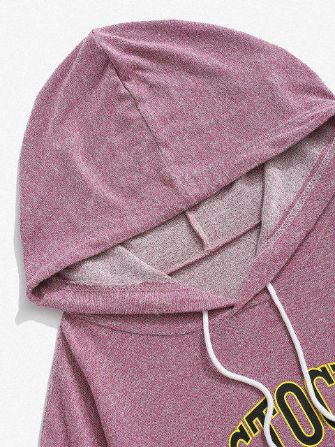 shops Letter Print Kangaroo Pocket Knit Hoodie - LIGHT PINK M Mobile
