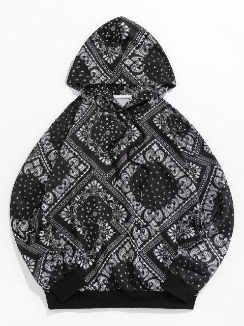 ZAFUL Paisleydruck Känguru Taschen Hoodie - Schwarz L Mobile