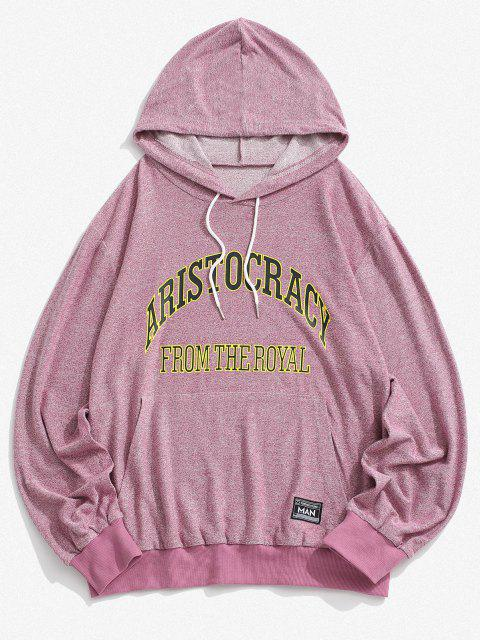 ladies Letter Print Kangaroo Pocket Knit Hoodie - LIGHT PINK L Mobile