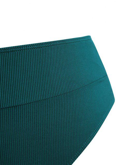 ZAFUL Calcinhas de Biquíni de Cavada com Nervuras Extra Grande - Verde profundo XL Mobile