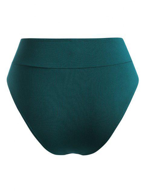 ZAFUL Bas de Bikini Côtelé de Grande Taille - Vert profond XXXL Mobile