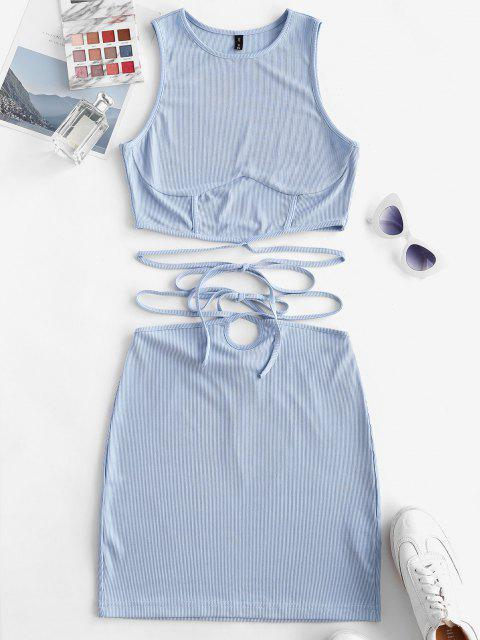 women ZAFUL Ribbed Strap Tie Racerback Two Piece Skirt Set - LIGHT BLUE XL Mobile