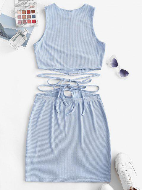 lady ZAFUL Ribbed Strap Tie Racerback Two Piece Skirt Set - LIGHT BLUE M Mobile