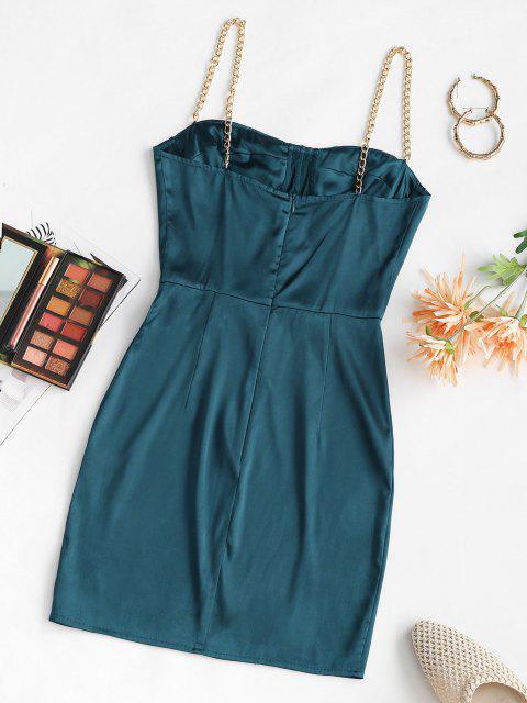 new Chain Straps Corset Detail Satin Slinky Bustier Dress - DEEP BLUE S Mobile