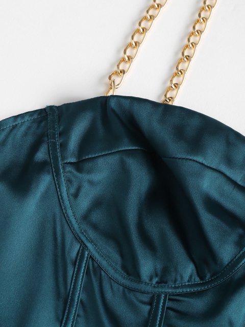 Robe Bustier Corset en Satin avec Bretelles et Chaîne - Bleu profond XL Mobile